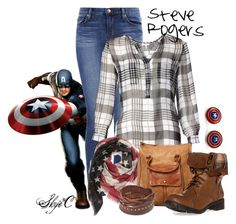 """Steve Rogers - Captain America - Marvel"" by rubytyra ❤ liked on Polyvore featuring J Brand, Joie, Roffe Accessories, Free People, West Coast Jewelry, marvel, CaptainAmerica and steverogers"