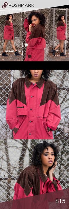 Brown and Pink Vintage coat Only worn once for Photoshoot as shown above . This is the EXACT jacket and very clear pictures of the jacket. Jackets & Coats Trench Coats