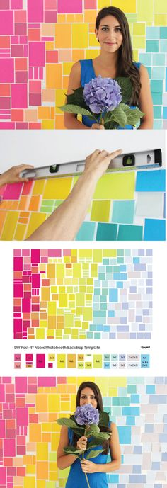 A DIY Photobooth Backdrop out of Post-its  #diy #crafts