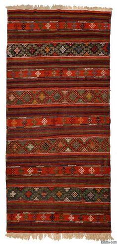 Vintage Denizli Kilim Rug around 40 years old.