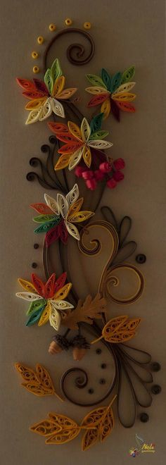 Quilled Fall Garland ~ Neli Quilling Art Probably too much work for a large group of but oh so pretty. Neli Quilling, Quilling Craft, Quilling Patterns, Quilling Designs, Paper Quilling, Toilet Paper Roll Art, Toilet Paper Roll Crafts, Hobbies And Crafts, Diy And Crafts