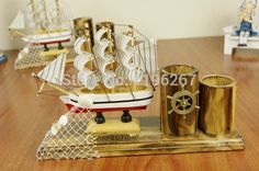 Sailing boat style pen holder wooden craft mediterranean style christmas gift nautical decoration vintage home decoration Wooden Crafts, Diy Crafts, Pen Holders, Place Card Holders, Boat Shelf, Boat Fashion, Mediterranean Style, Groomsman Gifts, Vintage Home Decor