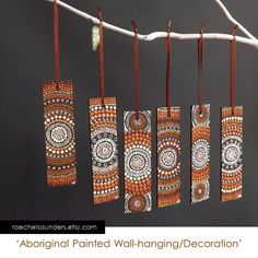create book marks in this style-Wall Decoration / Dot Painting / Christmas Decoration / Aboriginal Art / small Original painting, acrylic paint on wood / Brown decor