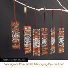 Wall Decoration / Dot Painting / Christmas Decoration / Aboriginal Art / small Original painting, acrylic paint on wood / Brown decor