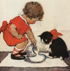 "img046 by sue-tarr, via Flickr; Sue's words:  I found this delightful picture on a card, it is by my favourite artist Jessie Willcox Smith.  Entitled ""Teatime for kitty"".  It was used on the cover of Good Housekeeping magazine, March 1922.  Copyright The British Library board."
