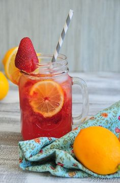 Strawberry Meyer Lemonade Spritzer--Kids Friendly:)