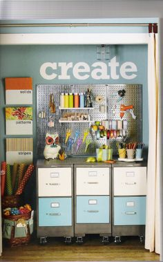 craft closet.  I like the cabinets on wheels so they can be rolled out when working on a project.  The peg board also offers flexible storage.
