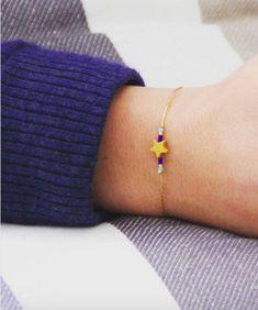 Bracelet étoile jaune et bleu / plaqué or