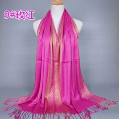 Fashion Lady  Long Soft  Gold Thread  Wrap Shawl Monochrome Silk Cotton Scarves