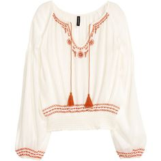 Embroidered Blouse $34.99 ($35) ❤ liked on Polyvore featuring tops, blouses, long white blouse, white blouse, tie top, white top and white rayon blouse