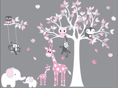 Owl tree wall decal,pattern leaves wall decal,vinyl wall decal for girl,boy,baby,children,nursery with,owls,butterflies,and birds. Pink and Grey nursery wall decal. Includes white tree with patterned leaves, mother and baby giraffes and elephants, monkeys, bees, birdies, and owls.