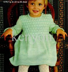 "Knitting Smocked Dress, 3 Sizes: 22"", 23"" and 26"" chest (approx. 2, 4 & 6 years old)"