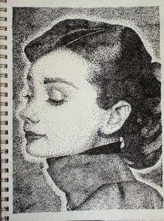 stippling | Stipple-Audrey Hepburn by Some-Imagination