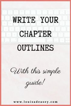 Write your chapter outlines to sell your book with this clear, step-by-step guide from twice-published author Louisa Deasey. Whether you're writing a book proposal or the first draft, writing chapter outlines will help you tell - and sell - your story!