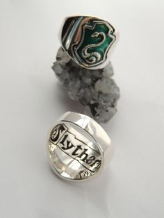 Slytherin ring Silver925 and green enamel by LaCullaDellaFenice