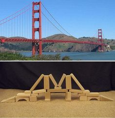 You can build the Golden Gate Bridge out blocks at home. Easy steps to help you complete this project. So get out your wooden blocks and have some fun! Wooden Buildings, Unique Buildings, Wooden Building Blocks, Wooden Blocks, Math Blocks, Block Area, Block Play, Weather Unit, Play Based Learning