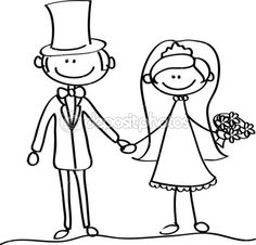 IMAGE COLORING PAGE OF BRIDE AND GROOM | Wedding picture, bride and groom in…