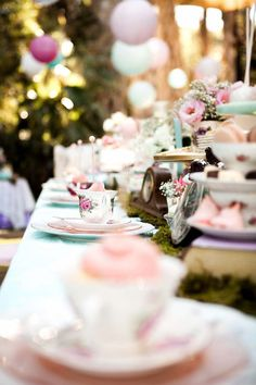 Dining Tablescape from a Shabby Chic Alice In Wonderland Birthday Party via Kara's Party Ideas KarasPartyIdeas.com (45)