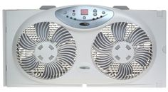 Bionaire Twin Reversible Airflow Window Fan with Remote Control. Fits most double-hung and slider windows.