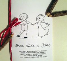 28 Creative And Meaningful Ways To Add A Personal Touch To Your Wedding: Share your love story with this custom coloring book for the kids table Kids Activity Books, Activities For Kids, Wedding Paper, Diy Wedding, Wedding Ideas, Dream Wedding, Kids Wedding Activities, Mrs Always Right, Before Wedding