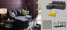 HÄRNÖSAND-sohva ja -divaani tummanharmaalla Olstorp-päällisellä ja mustanruskea VITTSJÖ-sarjapöytä