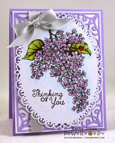 handmade greeting card from Inspired to Stamp ... wonderful botanical lilac ... die cut card frame and die cut oval for the image ... great coloring ..