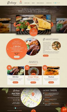 Our Dining psd web template is a great restaurant themed website design. The deign works great for authentic and fine food services. Website Design Inspiration, Web Design Blog, Layout Inspiration, Layout Design, Web Layout, Menu Design, Food Web Design, Design Ios, Wordpress