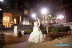 Bride in front of the Tutwiler Hotel.