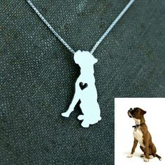 I ❤ Boxer Dog Silhouette Pendant Necklace Metal: Stainless Steel Chain length: 16.77 inches + 2 inches Hello Pawsh Jewelry Necklaces