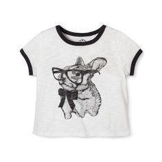 Girls' Cute Bunny Sketch Tee Shirt Oatmeal Grey
