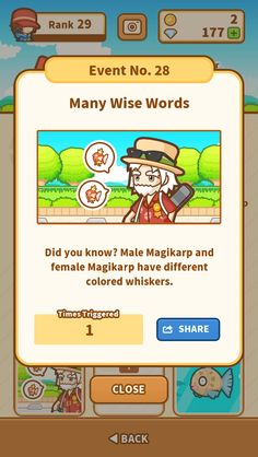 I triggered the Many Wise Words event! #Magikarp http://koiking.jp/r/