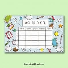 Free To Do List, Science Chart, Timetable Template, School Timetable, Drawing School, School Icon, School Labels, Daily Planner Printable, School Calendar