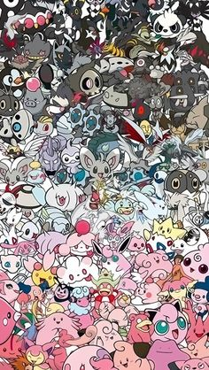 Awesome Pokemon Collection Wallpaper (1). Tap for more Pokemon Pattern Wallpapers for iPhone 5/5s. iPhone 6/6 Plus. - @mobile9 #pattern #backgrounds #pokemon