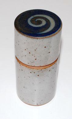 Jacob Bang, lidded vase in stoneware, own studio Denmark. H: 10. W: 4,5 cm.