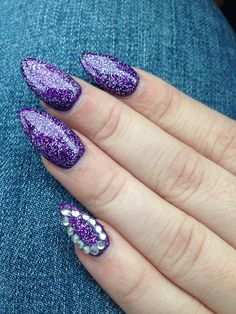 Purple pointy almond nails! With sparkles!