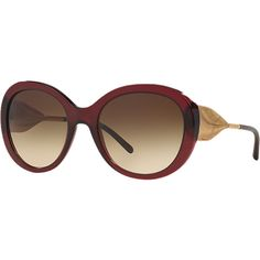 ebebcf313fa5 Burberry Be4191 57 Burgundy Round Sunglasses ( 290) ❤ liked on Polyvore  featuring accessories