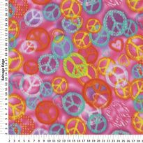 Fleece - Hearts and Peace Signs Pink Fleece Fabric