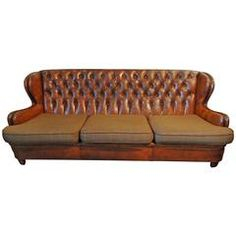 Continental, French or Spanish, Tufted Leather Upholstered Sofa