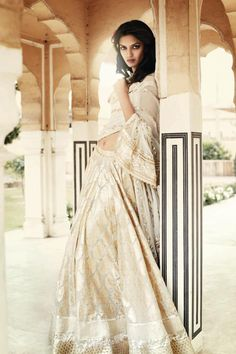 Anita Dongre Bridal S/S '12 cream and gold sari. gorgeous fabric.
