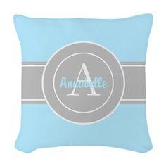 Aqua Gray Monogram Personalized Woven Throw Pillow on CafePress.com