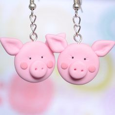 Polymer Clay Pig Earrings Cute Polymer Clay by Linnypigs on Etsy