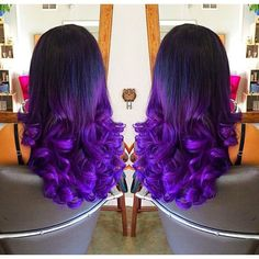 "18-26""Heat Resistant Wig Lace Front Wig Synthetic Loose Curly Ombre 1B/Purple"