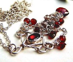 Dark red garnet necklace, oxidized sterling silver necklace, wire wrapped jewelry