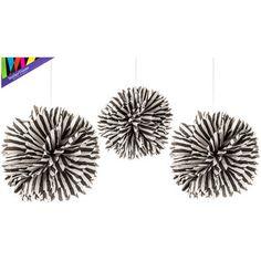 Black & White Striped Tissue Pom-Poms