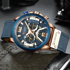 Load image into Gallery viewer, CURREN Casual Sport Watches for Men Top Brand Luxury Military Leather Fashion Chronograph Mens Sport Watches, Mens Watches Leather, Luxury Watches For Men, Casual Watches, Cool Watches, Elegant Watches, Women's Watches, Wrist Watches, Rolex