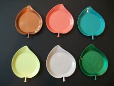 Set of 6 Vintage Gothamware Plastic Leaf Coasters by LilacCanyon, $13.75