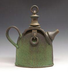 Sandy Terry Ceramic Artist and Painter : Green Bronze Teapot