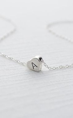 Sterling Silver Necklace with Heart Initial