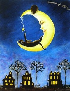 Kitty plays with the moon. Sweet dreams.