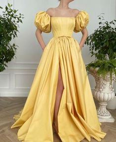 Yellow Evening Dresses, Yellow Gown, Long Yellow Dress, A Line Prom Dresses, Formal Dresses, Pretty Dresses, Beautiful Dresses, Rose Gown, Dream Dress